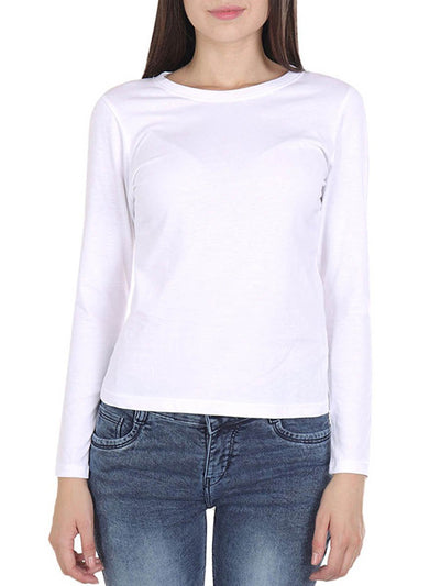 Plain Women's White Full Sleeve Round Neck T-Shirt - Crazy Punch