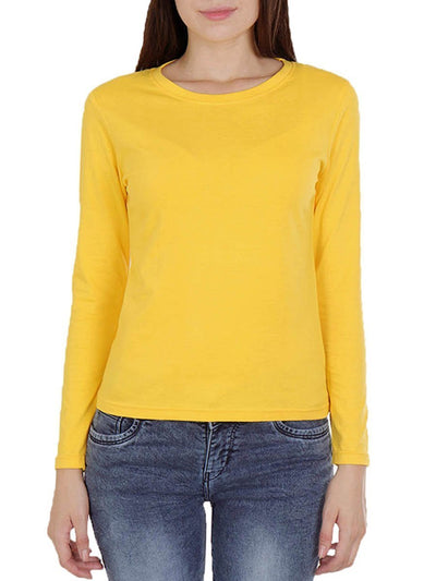 Plain Women's Yellow Full Sleeve Round Neck T-Shirt - Crazy Punch