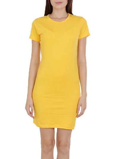 Plain Women's Yellow Half Sleeve T-Shirt Dress - Crazy Punch