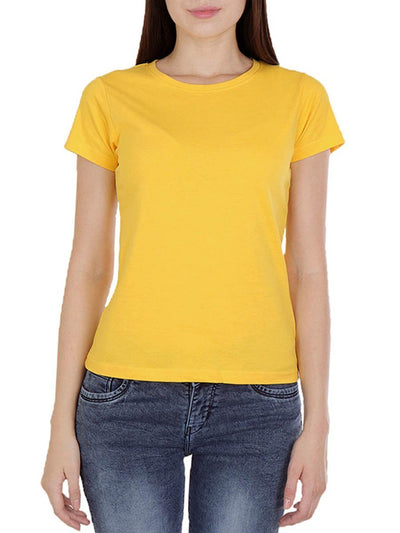Plain Women's Yellow Round Neck T-Shirt - DrunkenMonk