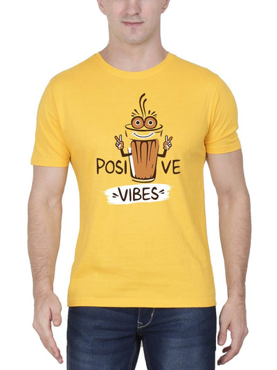 Positive Vibes - Tea Men's Yellow Half Sleeve Round Neck T-Shirt - Crazy Punch