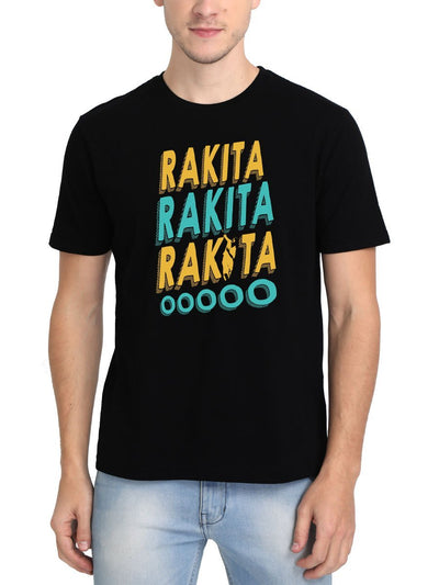 Rakita Rakita Rakita - Jagame Thandhiram Men's Black Half Sleeve Tamil Movie Song Round Neck T-Shirt - Crazy Punch