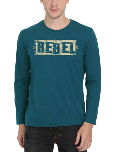 Rebel Men's Petrol Full Sleeve Round Neck T-Shirt - Crazy Punch