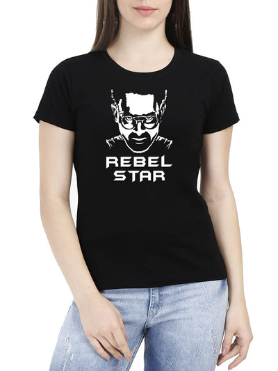 Rebel Star Prabhas Movie Poster Women's Black Half Sleeve Round Neck T-Shirt - Crazy Punch