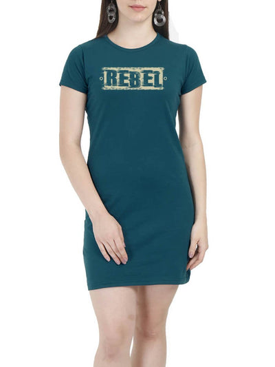 Rebel Women's Petrol Half Sleeve T-Shirt Dress - Crazy Punch