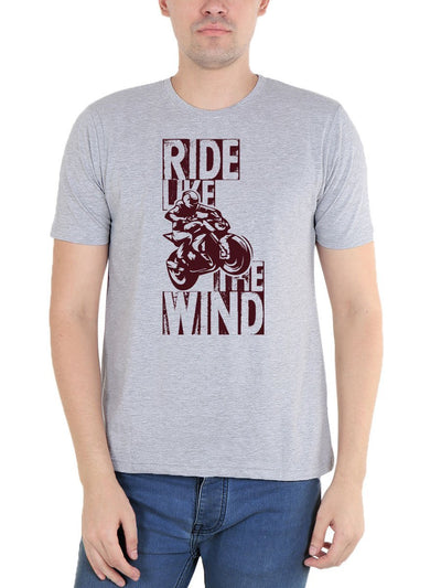Ride Like The Wind Bike Men's Grey Melange Half Sleeve Round Neck T-Shirt - Crazy Punch