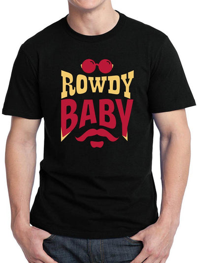 Rowdy Baby Men's Black Half Sleeve Tamil Movie Song Round Neck T-Shirt - Crazy Punch
