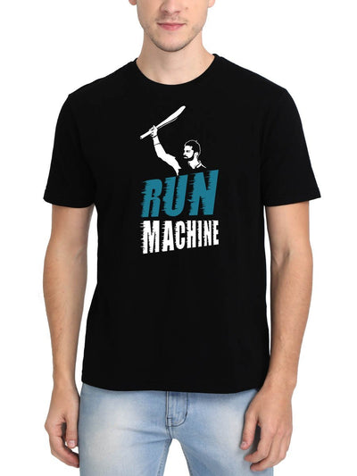 Run Machine Virat Kohli Men's Black Round Neck T-Shirt - Crazy Punch