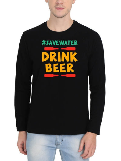 Save Water Drink Beer Men's Black Full Sleeve Round Neck T-Shirt - Crazy Punch