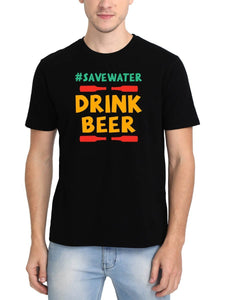 Save Water Drink Beer Men's Black Round Neck T-Shirt - Crazy Punch