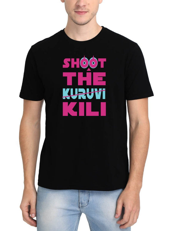 Shoot The Kuruvi Men's Black Tamil Round Neck T-Shirt - Crazy Punch