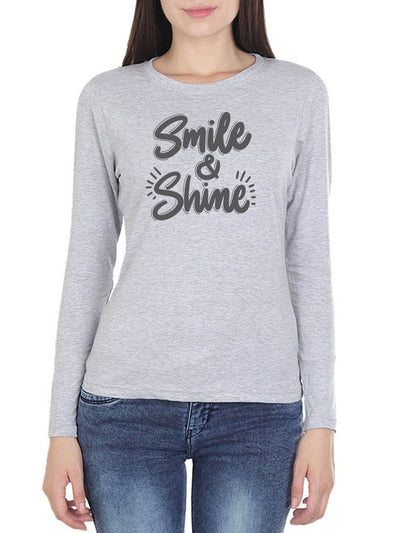Smile & Shine Women's Grey Melange Full Sleeve Round Neck T-Shirt - Crazy Punch