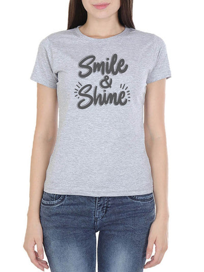Smile & Shine Women's Grey Melange Round Neck T-Shirt - Crazy Punch