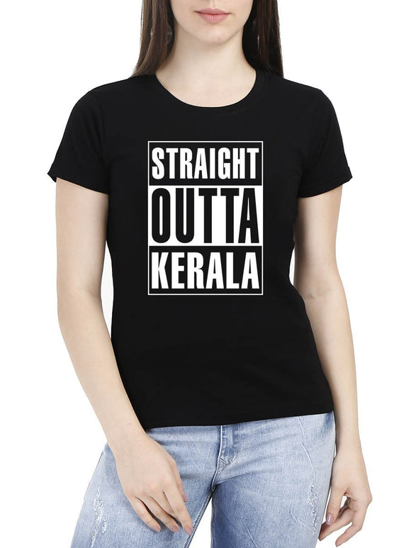 Straight Outta Kerala Women's Black Round Neck T-Shirt - Crazy Punch