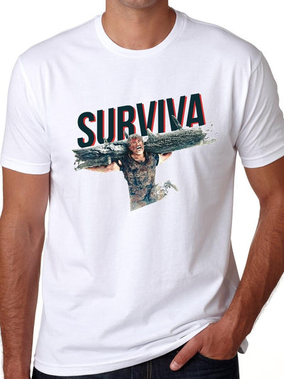 Surviva - Ajith Kumar Men's White Half Sleeve Tamil Movie Round Neck T-Shirt - Crazy Punch