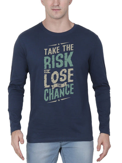 Take The Risk Or Lose The Chance Men's Navy Blue Full Sleeve Round Neck T-Shirt - Crazy Punch