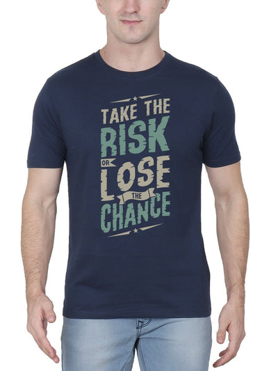 Take The Risk Or Lose The Chance Men's Navy Blue Half Sleeve Round Neck T-Shirt - Crazy Punch