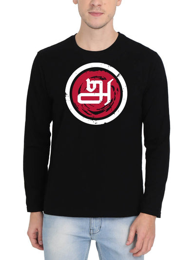 Tamil Letter Aana Men's Black Full Sleeve Tamil Round Neck T-Shirt - Crazy Punch