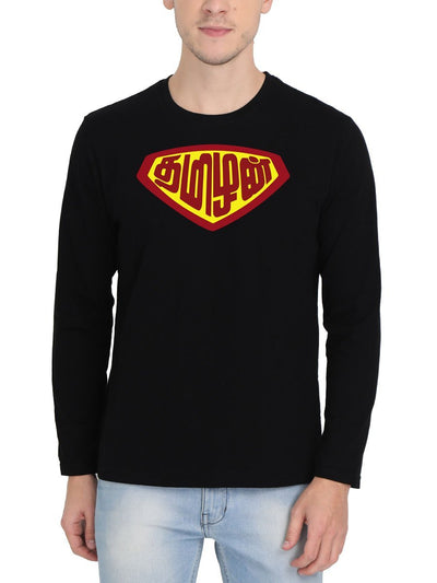 Tamizhan - Super Man Men's Black Full Sleeve Tamil Round Neck T-Shirt - Crazy Punch