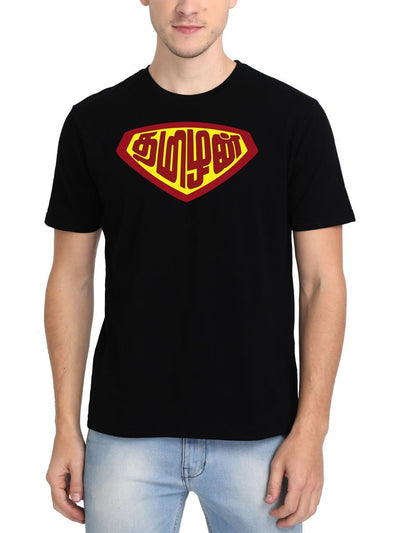 Tamizhan - Super Man Men's Black Tamil Round Neck T-Shirt - Crazy Punch