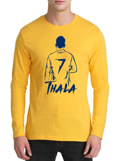 Thala MSD Back Pose Men's Yellow Full Sleeve Tamil Round Neck T-Shirt - Crazy Punch