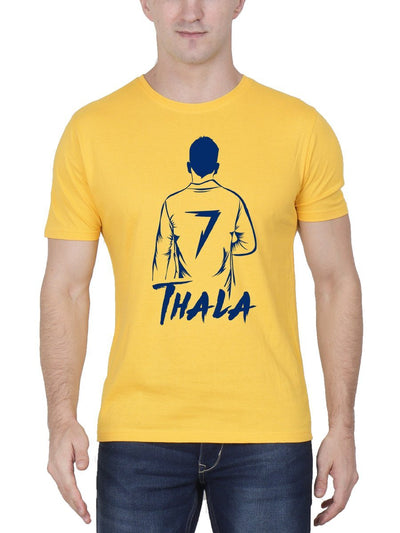 Thala MSD Back Pose Men's Yellow Half Sleeve Tamil Round Neck CSK T-Shirt - Crazy Punch