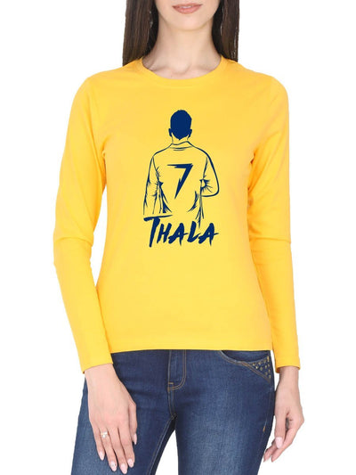 Thala MSD Back Pose Women's Yellow Full Sleeve Tamil Round Neck T-Shirt - Crazy Punch