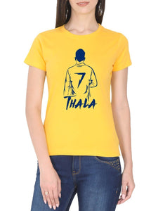 Thala MSD Back Pose Women's Yellow Tamil Round Neck T-Shirt - Crazy Punch