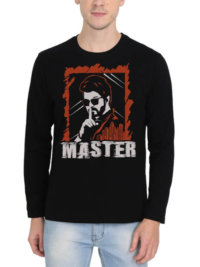 Thalapathy Vijay Master Intense Look Men's Black Full Sleeve Tamil Movie Round Neck T-Shirt - Crazy Punch