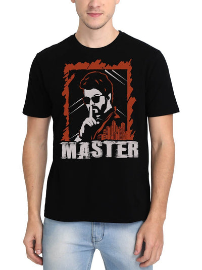 Thalapathy Vijay Master Intense Look Men's Black Tamil Movie Round Neck T-Shirt - Crazy Punch