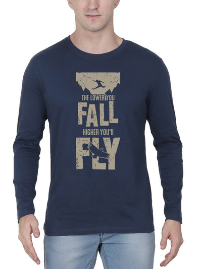 The Lower You Fall Higher You'll Fly - Fight Club Men's Navy Blue Full Sleeve Round Neck T-Shirt - Crazy Punch