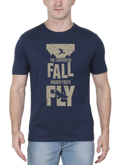 The Lower You Fall Higher You'll Fly - Fight Club Men's Navy Blue Half Sleeve Round Neck T-Shirt - Crazy Punch