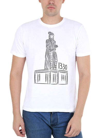 Thiruvalluvar Statue - 1330 Thirukkural Men's White Tamil Round Neck T-Shirt - Crazy Punch