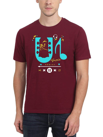 U1 Addict Men's Maroon Half Sleeve Tamil Movie Song Round Neck T-Shirt - Crazy Punch