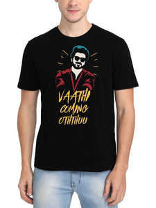 Vaathi Coming Oththuu Thalapathy Vijay Master Black Tamil Movie Song Round Neck T-Shirt - Crazy Punch