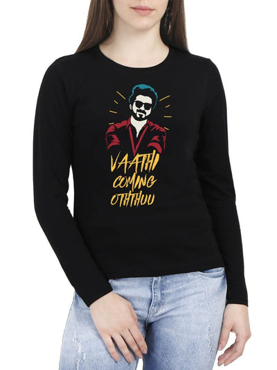 Vaathi Coming Oththuu Thalapathy Vijay Women's Black Full Sleeve Tamil Movie Song Round Neck T-Shirt - Crazy Punch