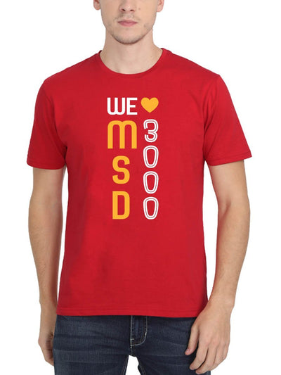 We Love MSD 3000 Men's Red Half Sleeve Round Neck T-Shirt - Crazy Punch