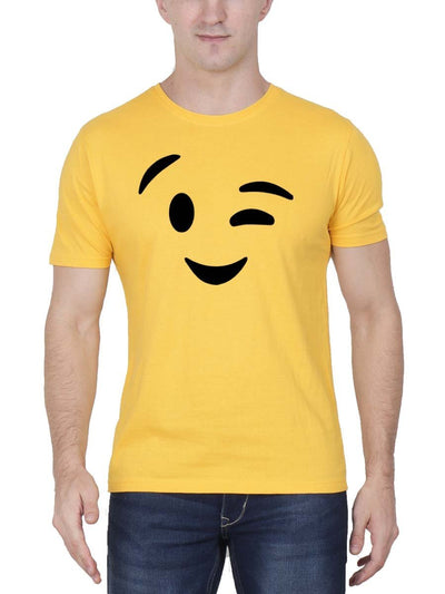 Wink Emoji Men's Yellow Half Sleeve Round Neck T-Shirt - Crazy Punch