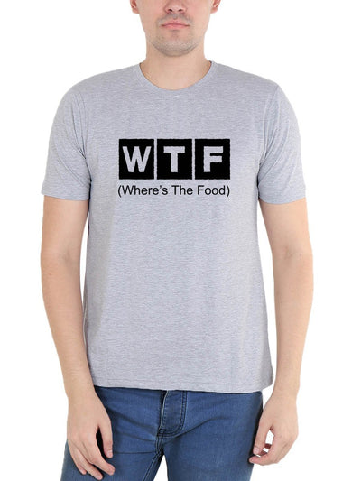 WTF - Where's The Food Men's Grey Melange Round Neck T-Shirt - Crazy Punch