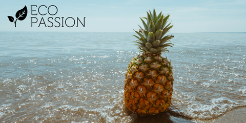 pineapple on beach with eco passion logo courtesy of Pineapple Supply Co.