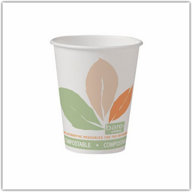 white paper cup biodegradable leaf design