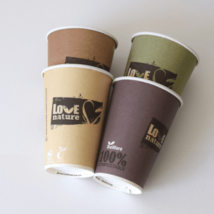 "Paper cups 210ml, ""love nature"" design, biodegradable (50, 500 or 1000)"