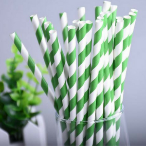 paper straw with green stripe biodegradable