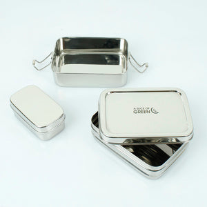 Stainless Steel 3-Piece Two-Tier Lunch Box 'Panna'