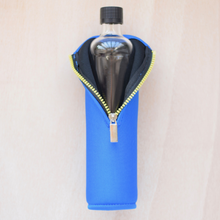 Reusable glass bottle, blue neoprene cover, 500ml - Botella reutilizable, funda azul, vidrio