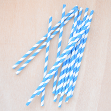 Paper drinking straws, blue stripe design, biodegradable 19x0.7cm (100, 200 or 500)