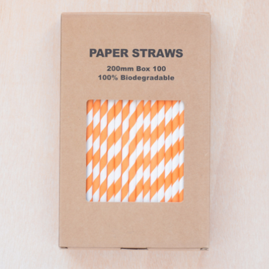 Paper drinking straws, orange stripe design, biodegradable 19x0.7cm (100, 200 or 500)