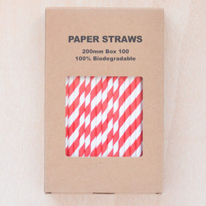 Paper drinking straws, red stripe design, biodegradable 19x0.7cm (100, 200 or 500)