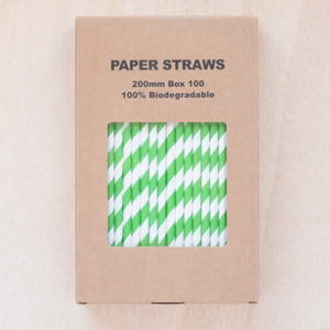 Paper drinking straws, green stripe design, biodegradable 19x0.7cm (100, 200 or 500)