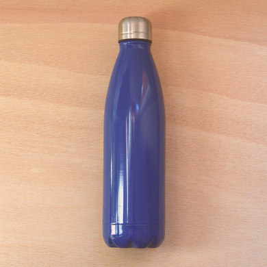 Stainless steel reusable water bottle, blue, 500ml